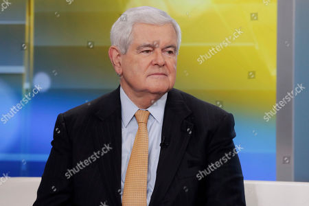 """Former Speaker of the House Newt Gingrich is interviewed on the """"Fox & friends"""" television program, in New York"""