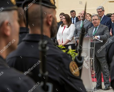 Spanish Interior Minister, Juan Ignacio Zoido (R) delivers a speech during the ceremony held on occasion of the 174th anniversary of the Civil Guard corps in Seville, Spain, 24 May 2018.