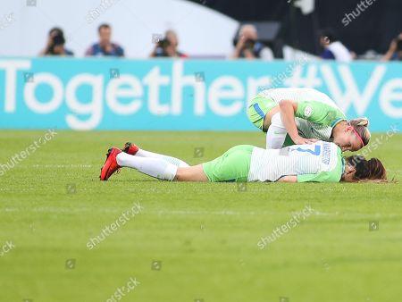 Sara Bjork Gunnarsdottir of Wolfsburg injured during the UEFA Women's Champions League final between Wolfsburg and Olympique Lyonnais at Valeriy Lobanovskyi Dynamo Stadium, Kyiv. Picture by Ahmad Morra