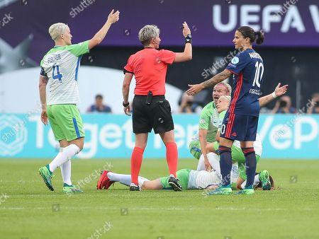 Stock Image of Sara Bjork Gunnarsdottir of Wolfsburg injured during the UEFA Women's Champions League final between Wolfsburg and Olympique Lyonnais at Valeriy Lobanovskyi Dynamo Stadium, Kyiv. Picture by Ahmad Morra