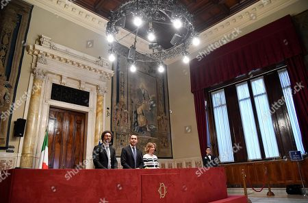 Five-Star Movement (M5S) leader Luigi Di Maio (C), accompanied by party colleagues Giulia Grillo (R) and Danilo Toninelli (L),  addresses the media after a meeting with designated Italian Prime Minister Giuseppe Conte for a round of consultations in Rome, Italy, 24 May 2018. Conte has been given the mandate to become Prime Minister by President Sergio Mattarella.