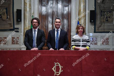 (L-R) Danilo Toninelli, Luigi Di Maio and Giulia Grillo address the media after a meeting with designated Italian Prime Minister Giuseppe Conte for a round of consultations in Rome, Italy, 24 May 2018. Conte has been given the mandate to become Prime Minister by President Sergio Mattarella.