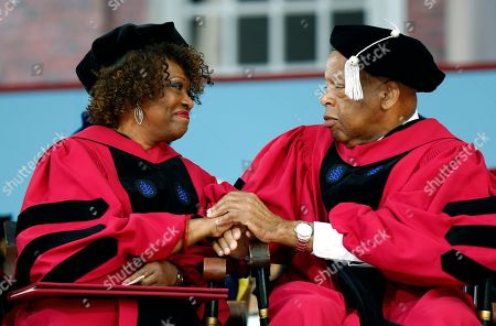 John Lewis, Rita Dove. U.S. Rep. John Lewis, interacts with Rita Dove after Dove received an honorary Doctor of Letters degree during Harvard University commencement exercises, in Cambridge, Mass