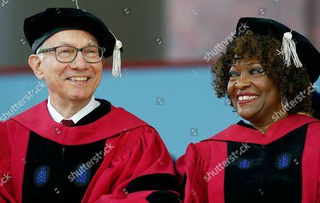 Stock Photo of Harvey Vernon Fineberg, Rita Dove. Harvey Vernon Fineberg, left, sits next to Rita Dove during Harvard University commencement exercises, in Cambridge, Mass