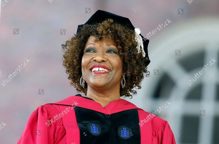 Rita Dove stands on stage during Harvard University commencement exercises, in Cambridge, Mass
