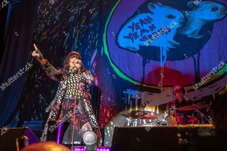 Singer Karen Lee Orzolek, better known by her stage name Karen O performs with Brian Chase (Drums) and Nick Zinner (guitar) from the Yeah Yeah Yeahs at the 3 Arena in Dublin.