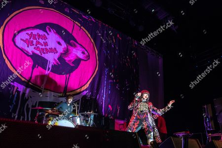 Singer Karen Lee Orzolek, better known by her stage name Karen O performs with Brian Chase (Drums) and Nick Zinner (guitar) from the Yeah Yeah Yeahs at the 3 Arena.
