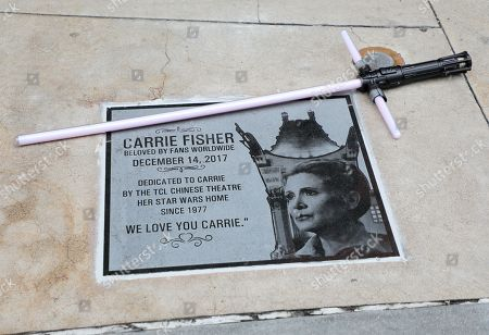 Editorial image of 'Star Wars' actress Carrie Fisher memorialized with plaque in Hollywood, USA - 24 May 2018