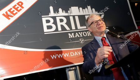 Nashville Mayor David Briley speaks to supporters after winning a special election to remain as mayor, in Nashville, Tenn. Briley took over as the city's mayor in early March after Megan Barry resigned from her position as part of a plea agreement for felony theft charges