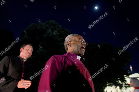 Stock Picture of Michael Curry, Michael Bruce Curry. The Most Rev. of the Episcopal Church, Michael Curry, who spoke at the royal wedding, speaks during a candlelight vigil outside the White House, in Washington