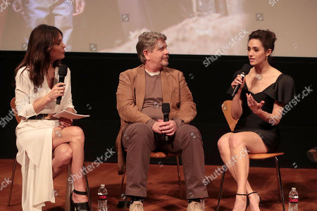 Bethenny Frankel, John Wells, Creator/Executive Producer, and Emmy Rossum at the showtime Emmy FYC screening of Shameless at the Linwood Dunn Theatre in Hollywood, CA on May 24, 2018