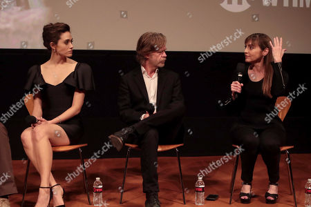 Emmy Rossum, William H. Macy and Nancy Pimental, Writer/Executive Producer, at the showtime Emmy FYC screening of Shameless at the Linwood Dunn Theatre in Hollywood, CA on May 24, 2018