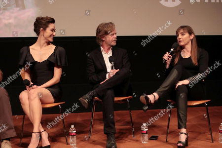 Stock Picture of Emmy Rossum, William H. Macy and Nancy Pimental, Writer/Executive Producer, at the showtime Emmy FYC screening of Shameless at the Linwood Dunn Theatre in Hollywood, CA on May 24, 2018