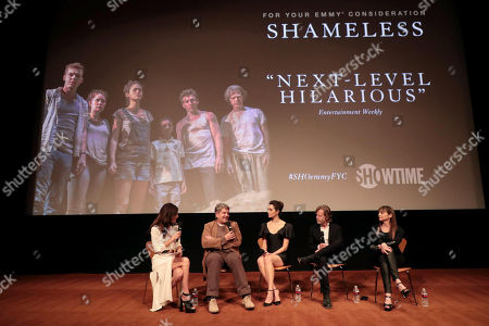 Stock Photo of Bethenny Frankel, John Wells, Creator/Executive Producer, Emmy Rossum, William H. Macy and Nancy Pimental, Writer/Executive Producer, at the showtime Emmy FYC screening of Shameless at the Linwood Dunn Theatre in Hollywood, CA on May 24, 2018