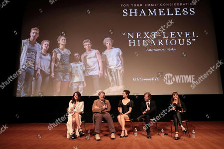 Stock Image of Bethenny Frankel, John Wells, Creator/Executive Producer, Emmy Rossum, William H. Macy and Nancy Pimental, Writer/Executive Producer, at the showtime Emmy FYC screening of Shameless at the Linwood Dunn Theatre in Hollywood, CA on May 24, 2018