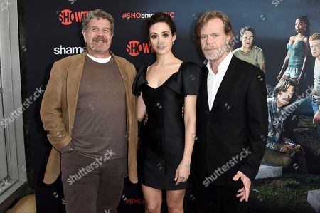 """John Wells, Emmy Rossum, William H. Macy. John Wells, from left, Emmy Rossum and William H. Macy attend the """"Shameless"""" FYC event at Linwood Dunn Theater, in Los Angeles"""