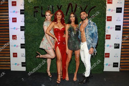 Carmen Carrera, Gene Rocero, Isis King, and Laith Ashley seen at the FLUX New York City launch at Interface on in New York