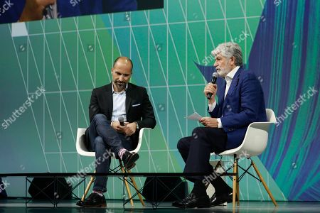 Dara Khosrowshahi, Uber CEO, Maurice Levy, chairman of the supervisory board Publics Group
