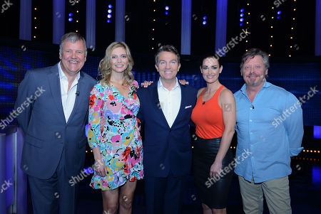 (l-r) Clive Tyldesley, Rachel Riley host Bradley Walsh, Kirsty Gallacher and Charley Boorman