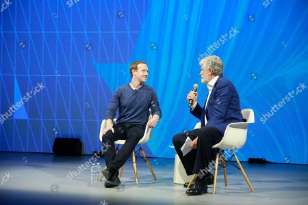 Facebook's CEO Mark Zuckerberg with Cofounder of Viva Technology Maurice Levy