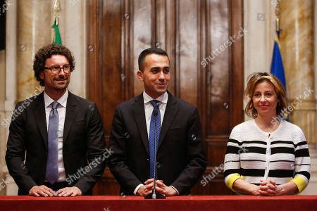 Leader of 5 Stars Movement Luigi Di Maio with Danilo Toninelli (L) and Giulia Grillo (R) addresses the media after a meeting with designated Italian Prime Minister Giuseppe Conte
