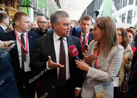 Russian State Duma Speaker Vyacheslav Volodin (C) answers to Russian TV journalist and former presidential candidate Ksenia Sobchak (front R) during the St. Petersburg International Economic Forum (SPIEF 2018) in St. Petersburg, Russia, 25 May 2018. SPIEF 2018 runs from 24 to 26 May.