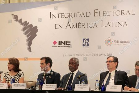 Kofi Annan, former Secretary General of the United Nations (UN), Laura Chinchilla, former president of Costa Rica and Lorenzo Cordova during  'Electoral integrity in Latin America' press conference at the Club de Industriales