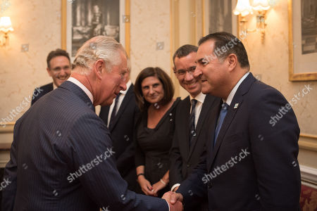 Stock Image of Prince Charles meets Israel Maimon, President of Development Corporation for Israel Bonds, watched by Jonathan M. Goldstein, David Lidington, Louise Jacobs, and Ambassador Mark Regev.