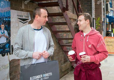 Ep 9475 Wednesday 6th June 2018 - 2nd Ep Back from their shopping trip Sharon, as played by Natalie Burt, hands Kirk Sutherland, as played by Andy Whyment, an expensive shirt and kisses him on the cheek. Having witnessed this, Tyrone Dobbs, as played by Alan Halsall, warns Kirk that she's clearly got the hots for him.