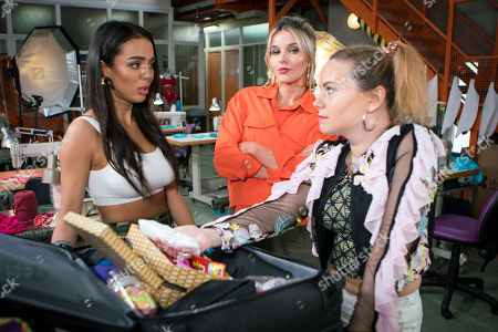 Stock Picture of Ep 9469 Wednesday 30th May 2018  Rosie Wedster, as played by Helen Flanagan, urges Olivia, as played by Arianna Ajtar, the other model to open the bag Antoine entrusted her with. Olivia's stunned to find it contains cocaine. Gemma Winter, as played by Dolly-Rose Campbell, forms a plan.