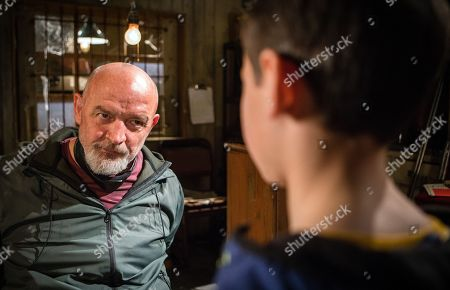 Ep 9468 Tuesday 29th May 2018  Jack, as played by Kyran Bowes, lets himself into the builder's yard and discovers Phelan, as played by Connor McIntyre, tied up. Phelan urges Jack to find some scissors and cut him free.