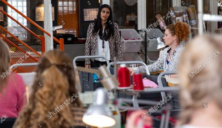 Ep 9482 & Ep 9483 Friday 15th June 2018 Alya Nazir, as played by Sair Khan, drops the bombshell that she's now Karl Hyde owner and instructs the girls to get cracking as they?ve a large order to get out. The factory girls mess about before staging a walkout in support of Fiz Stape, as played by Jennie McAlpine.