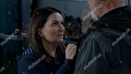 Ep 9471 Friday 1st June 2018 An armed response team sets up outside the bistro. Hearing the sirens, Phelan makes a run for it through the kitchen, taking Michelle as a hostage. He's shocked to find Anna waiting for him there. The distraction allows Michelle to break free of Phelan's grip. Phelan reacts by shooting Michelle in the abdomen. While his back is turned, Anna charges at him with a knife, stabbing him in the chest - With Pat Phelan, as played by Connor McIntyre ; Anna Windass, as played by Debbie Rush.