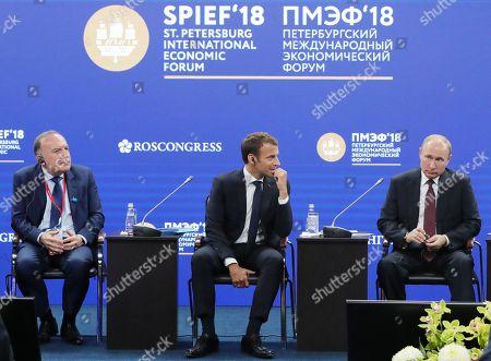 Vladimir Putin, Emmanuel Macron and Pierre Gattaz