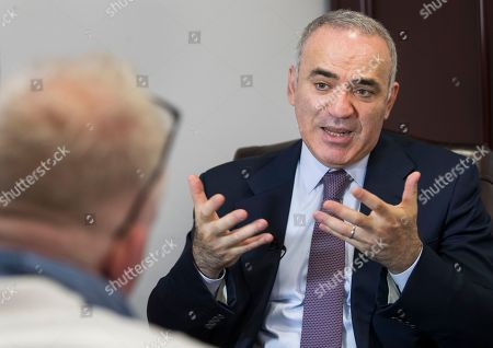Prominent Russian opposition figure and chess champion Garry Kasparov speaks in an interview with The Associated Press at the conclusion of the fifth Vilnius Russia Forum at the Esperanza hotel in Trakai district, some 50 kms (31 miles) west of the capital Vilnius, Lithuania, . The annual forum discusses topical issues of Russian domestic and foreign policy