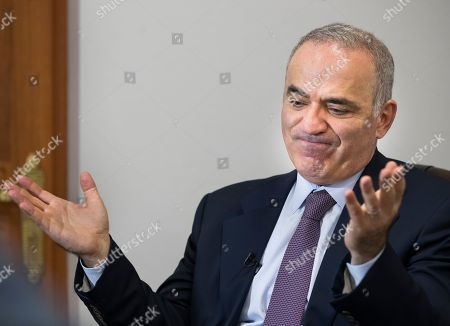 Prominent Russian opposition figure and chess champion Garry Kasparov speaks in an interview with The Associated Press at the conclusion of the fifth Vilnius Russia Forum at the Esperanza hotel in Trakai district,some 50 kms (31 miles) west of the capital Vilnius, Lithuania, . The annual forum discusses topical issues of Russian domestic and foreign policy