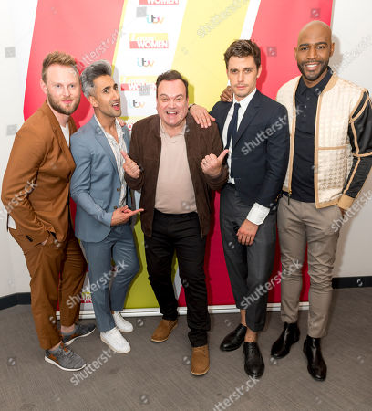 Stock Photo of Queer Eye for the Straight Guy - Tan France, Antoni Porowski, Karamo Brown and Bobby Berk with Shaun Williamson