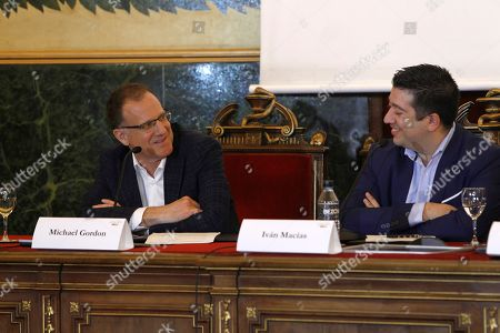 Michael Gordon (L), son of writer Noah Gordon, presents the new musical 'The Physician' based in his father's novel in Madrid, Spain, 25 May 2018, with composer Ivan Macias (R). The show's world premiere will be in October 2018 in Madrid with 33 actors and 20 musicians directed by Jose Luis Sixto and composed by Ivan Macias.