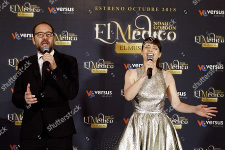 Venezuelan tenor Alain Damas (L) and portuguese actress Sofia Escobar (d) perform during the presentation of the new musical 'The Physician' based in Noah Gordon's novel and taken to theaters by his son Michael in Madrid, Spain, 25 May 2018. The show's world premiere will be in October 2018 in Madrid with 33 actors and 20 musicians directed by Jose Luis Sixto and composed by Ivan Macias.