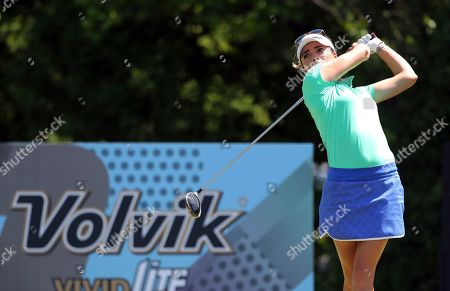 Stock Picture of Gaby Lopez, of Mexico, tees off on the ninth hole during the second round of the LPGA Volvik Championship golf tournament at the Travis Pointe Country Club, in Ann Arbor, Mich