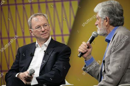 Eric Schmidt Technical Advisor and Member of the Board Alphabet Inc during and Maurice Levy Chairman of Publicis Group during Vivatech technology fair.