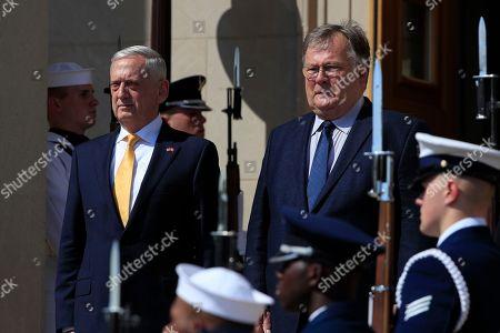 Jim Mattis, Claus Hjort Frederiksen. Secretary of Defense Jim Mattis, welcomes Denmark's Minister of Defense Claus Hjort Frederiksen, at the Pentagon