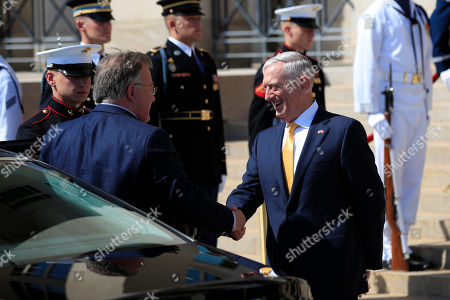 Jim Mattis, Claus Hjort Frederiksen. Secretary of Defense Jim Mattis, right, welcomes Denmark's Minister of Defense Claus Hjort Frederiksen, at the Pentagon