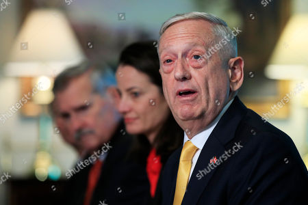 Secretary of Defense Jim Mattis, responds to a question from a reporter about North Korea during a meeting with Denmark's Minister of Defense Claus Hjort Frederiksen, at the Pentagon