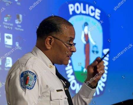 Richmond Police Chief, Alfred Durham, gestures during a news conference in Richmond, Va., . Durham released body cam video fo the shooting of Marcus-David Peters last week. Durham released the video of Marcus-David Peters' fatal shooting earlier this month. The video shows the officer first used a stun gun when Peters approached him. Police say it was not effective and the officer then shot Peters twice in the abdomen