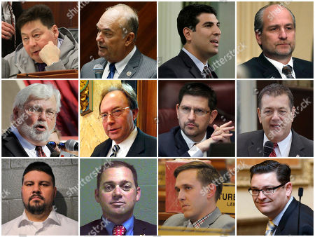 This combination of photos shows some of the two dozen state lawmakers across the country who have been accused of sexual harassment or misconduct since the start of 2017 and have resigned or been removed from office as of March 2018. Top row from left are Alaska Rep. Dean Westlake, Arizona Rep. Don Shooter, California Assemblyman Matt Dababneh and Colorado Rep. Steve Lebsock. Middle row from left are Florida Sen. Jack Latvala, Mississippi Rep. John Moore, Nevada Sen. Mark Manendo and Oklahoma Rep. Dan Kirby. Bottom row from left are Oklahoma Sen. Ralph Shortey, Oklahoma Sen. Bryce Marlatt, South Dakota Rep. Mathew Wollmann and Utah Rep. Jon Stanard