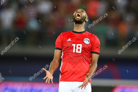 Egypt's Shikabala reacts during the International Friendly soccer match between Kuwait and Egypt at Jaber International Stadium in Kuwait City, Kuwait, 25 May 2018.