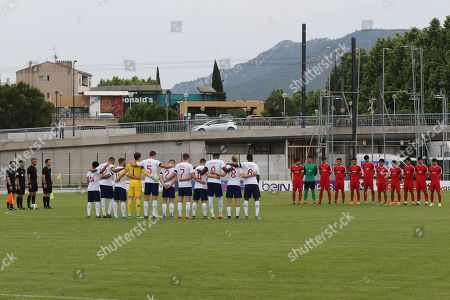 Stock Photo of A minute silence was held prior to the match as a mark of respect to three footballers who have recently died, Ray Wilkins, Ray Wilson and Jlloyd Samuel. Black armbands were also worn by the England players  during England Under-21 vs China Under-21, Tournoi Maurice Revello Football at Stade de Lattre-de-Tassigny on 26th May 2018