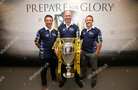 Rob Andrew, Lawrence Dallaglio & Jonny Wilkinson with the Premiership Trophy - Legends for the 'My Name'5 Doddie' Foundation raising funds for MND research