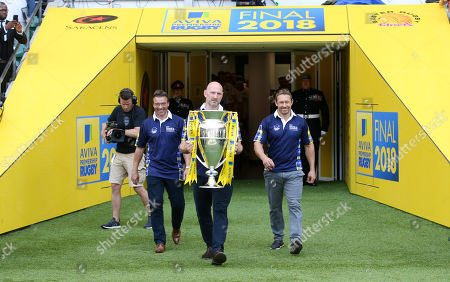 Stock Photo of Rob Andrew, Lawrence Dallaglio & Jonny Wilkinson with the Premiership Trophy - Legends for the 'My Name'5 Doddie' Foundation raising funds for MND research